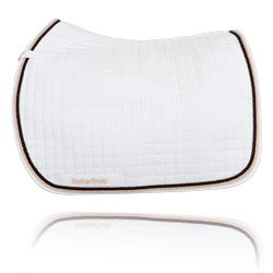 Back On Track Dressage Saddle Pad - White With Brown/Champagne Trim Cob/Full