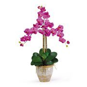 (Nearly Natural Triple Phalaenopsis Silk Orchid Flower Arrangement)