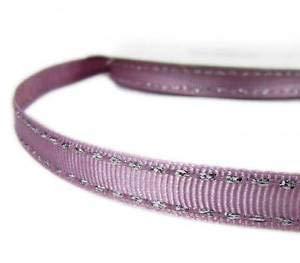 (2 Yds Metallic Silver Side Saddle Stitched Purple Pink Grosgrain Ribbon 3/8