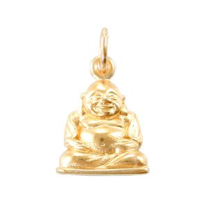 Amazon small sitting laughing buddha charm in 24k gold plated small sitting laughing buddha charm in 24k gold plated bronze 8149 aloadofball Image collections