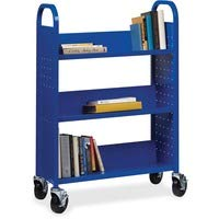 Lorell LLR99934 Single-Sided Steel Book Cart44; Blue