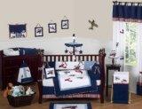 Sweet Jojo Designs 9-Piece Red, White and Blue Vintage Aviator Airplane Plane Baby Boy Bedding Crib Set