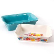 The Pioneer Woman Flea Market 2-Piece Decorated Rectangular Ruffle Top Ceramic Bakeware Set, turquoise & floral baker by BLOSSOMZ by BLOSSOMZ