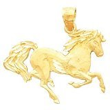 Clevereves 14K Yellow Gold 19.00X26.00 mm Horse Pendant