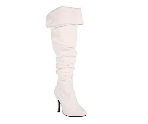 Forever Womens Over The Knee Fashion Boot Shoes White 10