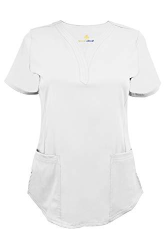 Natural Uniforms Women's Ultra Soft Stretch Drop-Neck Scrub Top (White, Medium)