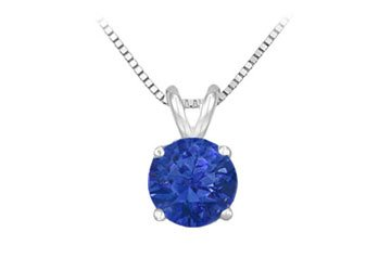 Created Sapphire Prong Set Sterling Silver Solitaire Pendant 1.00 CT TGW