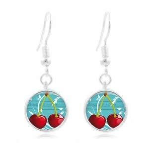 1set Cherries Art Tibet Silver Dome Photo 16MM Glass Cabochon Long Earrings