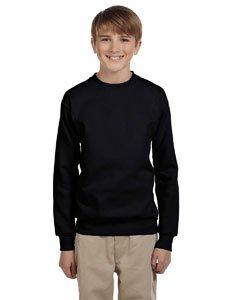 Hanes Black Crew Sweatshirt - Hanes Youth 7.8 oz 50/50 Crewneck Sweatshirt in Black - Large (14/16)