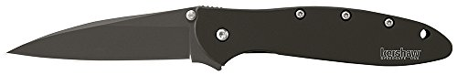 "Kershaw Leek, Black Folding Knife (1660CKT); 3"" 14C28N Sandvik Steel Blade, 410 Stainless Steel Handle, Both DLC-Coated; SpeedSafe Assisted Opening, Liner Lock, Tip Lock, Reversible Pocketclip; 3 OZ."