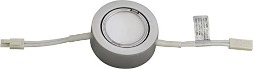 (Professional Grade - 1 Silver Plastic Cover LED Puck Light - Warm White Light (3,000k) - Under Cabinet and Furniture - 120v/110v - Dimmable - Line-Voltage )