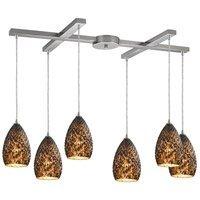 Pendants 6 Light with Satin Nickel Finish Burnt Caramel Glass Medium Base 33 inch 360 Watts - World of Lamp