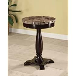 H-M SHOP Round Pedestal Table Marble Veneer Top Espresso Base