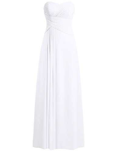 JAEDEN Bridesmaid Dress Prom Dresses Long Sweetheart Chiffon Evening Gown Pleat Strapless White XXL