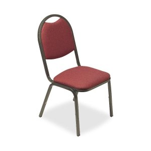 Lorell 4-Carton Stack Chairs, 18 by 22 by 35-1/2-Inch, Burgundy Fabric/Charcoal Frame