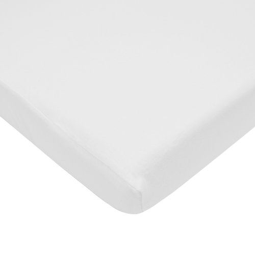 TL Care 100% Cotton Jersey Knit Fitted Crib Sheet for Standard Crib and Toddler Mattresses, White, 28 x 52, for Boys and - Sheet Standard Fitted