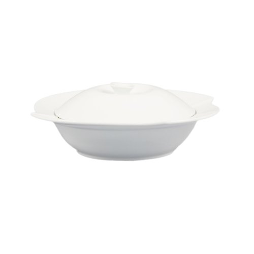 CAC China COL-120 30-Ounce Porcelain Flower Shape Pasta Bowl with Lid, 11-1/2 by 2-Inch, Super White, Box of 8 by CAC China
