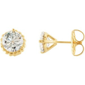 3 Cttw 3 Cttw Charles and Clovard 14k Yellow Gold Moissanite Solitaire Stud Earrings by The Men's Jewelry Store