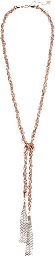 - GUESS Tassel Knotted Nk W/Pearls Y Shaped Necklace, Rose Gold, One Size