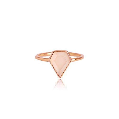 - espere Diamond Shaped Bezel Set Pink Chalcedony Ring Size 7