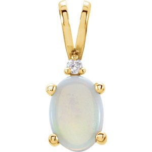 - Jambs Jewelry 14K Yellow 7x5 mm Oval 4-Prong Accented Cabochon Pendant Mounting