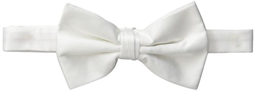 Stacy Adams Men's Satin Solid Bow Tie, White, One Size