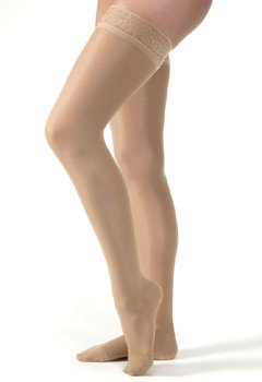 Jobst UltraSheer Thigh High - Moderate Compression 15-20 M, Silicone Dot Band Silky Beige