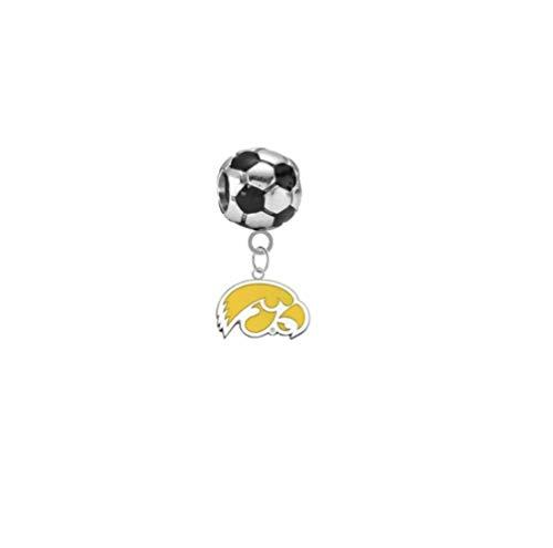 Iowa Hawkeyes Style 2 Soccer 3D Universal European Bracelet Charm -