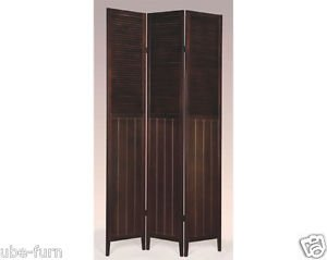 Shutter 3 Door Room Panel - Wood Shutter Door 3-Panel Room Divider, ESPRESSO
