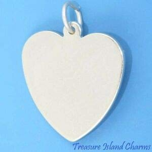 Engravable Flat Heart 925 Solid Sterling Silver Charm Pendant 18mm 3/4