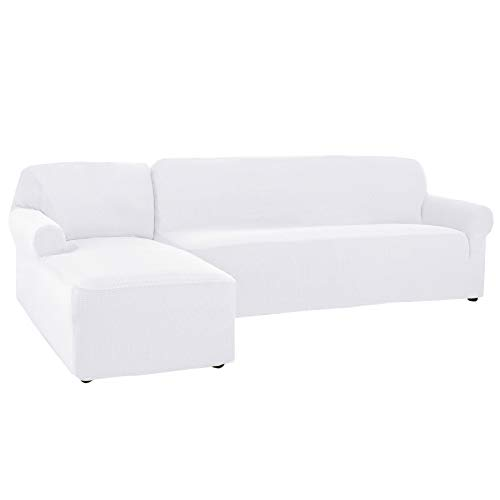CHUN YI 2 Pieces L-Shaped Left Chaise Jacquard Polyester Stretch Fabric Sectional Sofa Slipcovers Dust-Proof L Shape Corner 3 Seats Sofa Cover Set for Living Room (White)