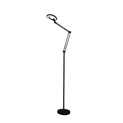 LED Eye Students Reading Floor lamp, Adjustable Long arm Piano Practice lamp Simple Bedroom Bedside Aluminum Floor lamp, no Radiation, Soft Light, 8W (Color : Black)