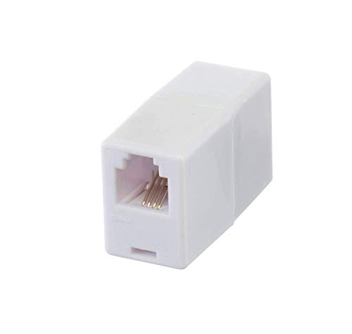 THE CIMPLE CO - Telephone Cord Coupler Phone in Line Coupler - 4 Conductor (2) Telephone Lines - 2 Pack (White)