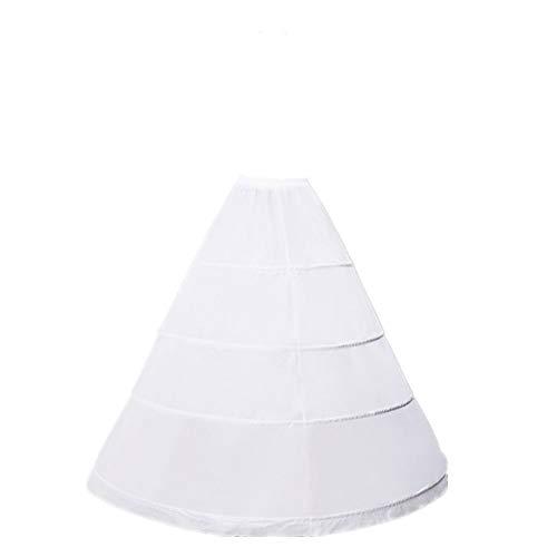 ZLQQ Women's 4-Hoop A-Line Floor Length Wedding Ball Gown Petticoat Underskirt Crinoline