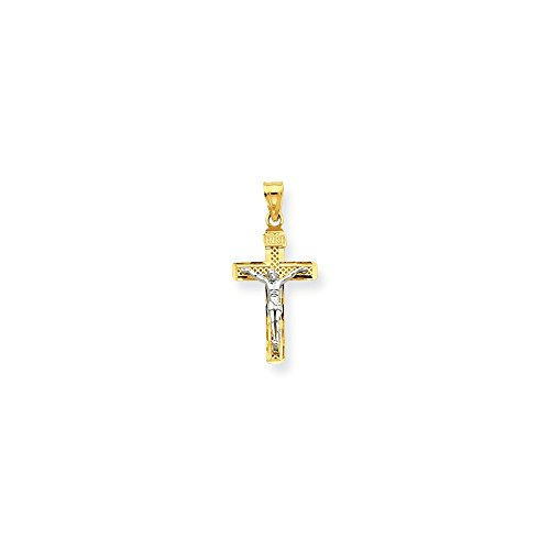 14k Gold Lattice - 14k Two-Tone Gold Rhodium Plated D/C Small Block Lattice Cross INRI Crucifix Pendant