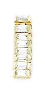 14k Yellow Gold Cubic Zirconia 14 Gauge Fancy Body Jewelry Belly Ring Measures 20x6mm