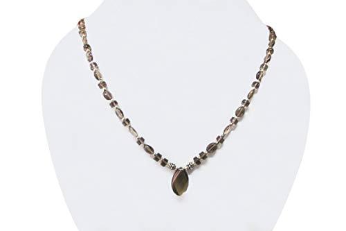 Single strand Gemstone necklace Smoky Quartz Beaded Jewelry with Sterling - Jewelry Quartz Smoky