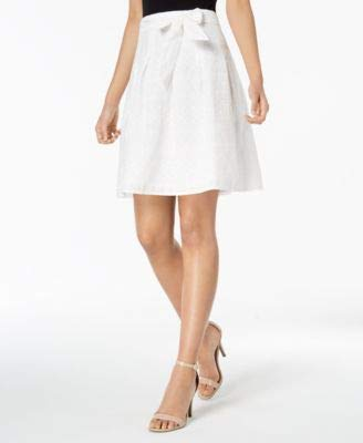 Nine West Women's Eyelet LACE Skirt with SELF Belt, Lily, 12 (Eyelet Mini Skirt)