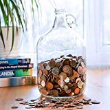 Velucio Glass Money Jar - Holds Over $2,500 in Coins! by Velucio
