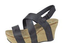 Pierre Dumas Women's Hester-5 Vegan Leather Strappy Wedge Sandals,Black,10