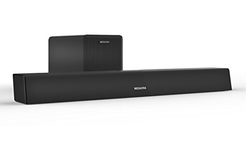 Soundbar with Sub, MEGACRA 2.1 Channel 100 Watt Sound Bar For TV Wired and Wireless Connection Home Theater System Combo