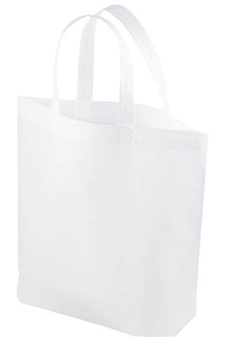 White Tote Bags - 10-Pack Non-Woven Wholesale Tote Bags, Promotional Giveaway Tote for Conventions, Gift Totes, Party Goodie Bags, 14.8 x 12.5 Inches