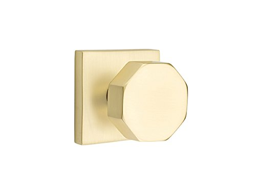 - Full Dummy Set, Modern Square Rosette, Octagon Knob, Satin Brass