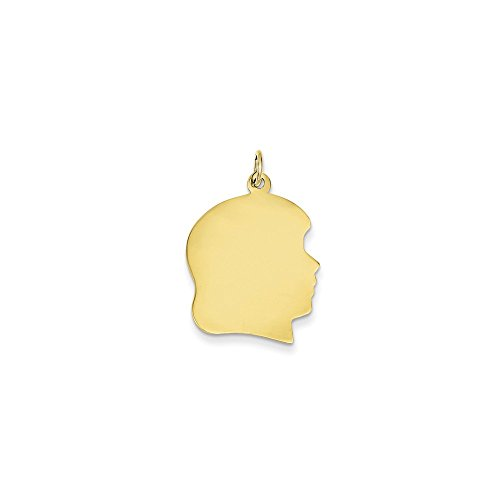 10K Yellow Gold Plain Large .013 Gauge Facing Right Engravable Girl Head Charm