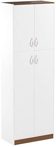 4-Door Laminate Kitchen Pantry, White