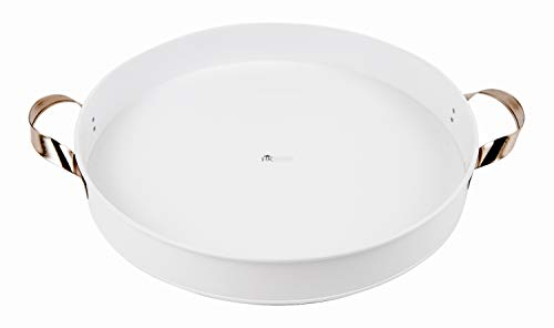 Decorative Serving Tray for Ottoman, Coffee Table Decor, Vanity, Countertop and Kitchen - White Round Metal Tray with Handles is Ideal for Farmhouse Home and Kitchen Decor by H & -