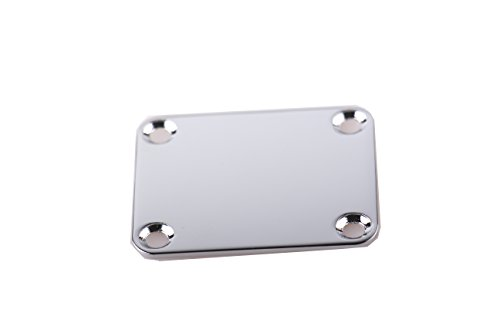 ACE-HK Electric Guitar Neck Plate, Chrome, 1 Pc, with 1 Pc Plastic Back-up Plate, and Mounting Screws