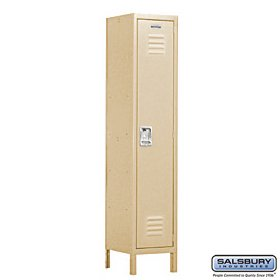 (Salsbury Industries Assembled 1-Tier Extra Wide Standard Metal Locker with One Wide Storage Unit, 6-Feet High by 18-Inch Deep, Tan)