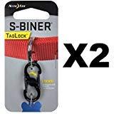 Nite Ize S-Biner TagLock Black Stainless Steel Locking Biner for Collar (2-Pack)