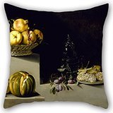 Cushion Covers Of Oil Painting Juan Van Der Hamen Y León - Still Life With Fruit And Glassware 20 X 20 Inches / 50 By 50 Cm,best Fit For Lounge,gril Friend,festival,sofa,monther,club Twice Sides